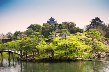 Korakuen Japanese Big garden in Okayama prefecture, Japan Stok Fotoğraf