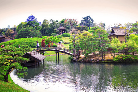 prefecture: Okayama, JAPAN - April 17  Travellers are visiting in Koraku-en in Okayama, Japan on April 17, 2014  One of the Three Great Gardens of Japan garden
