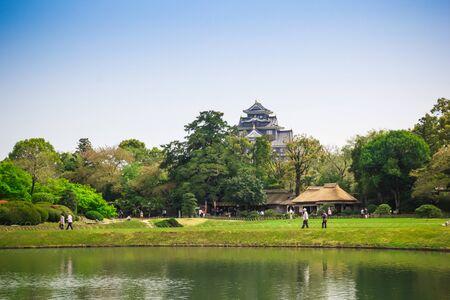 okayama: Okayama, JAPAN - April 17  Travellers are visiting in Koraku-en in Okayama, Japan on April 17, 2014  One of the Three Great Gardens of Japan garden