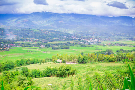 filed: Natural landscape view of village and corn filed on mountain at Chiangmai, Thailand Stock Photo