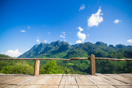bamboo bench terrace with the natural mountain view at Chiangmai, Thailand photo