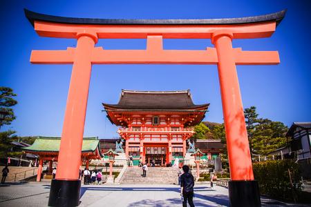 KYOTO, JAPAN - April 15: The Romon Gate at Fushimi Inari Shrine's entrance on April 15, 2014 in Kyoto, JAPAN.