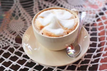 cappucino: Hot coffee cappucino on a table Stock Photo
