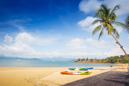 clearly: Blue sea and beach in the clearly sky day in the Southern of Thailand Stock Photo