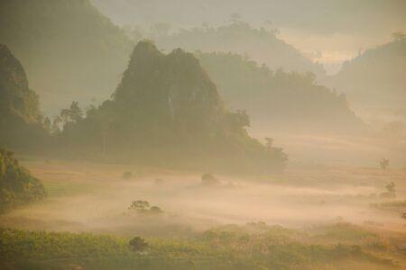 ka: Morning mist and moutain At Phu Lang Ka, Phayao, Thailand