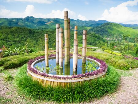 A beautiful welth fountain pond on nature park at Nan province, the Northern of Thailand