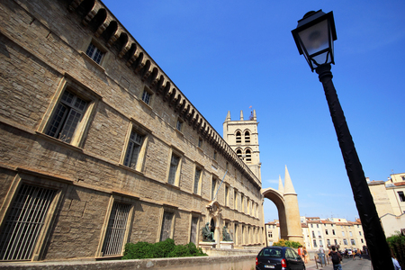 MONTPELLIER, FRANCE - JULY 2: The Medical University and the Montpellier Cathedral, Montpellier, Languedoc-Roussillon, France on July 2, 2015 in Montpellier. Editöryel