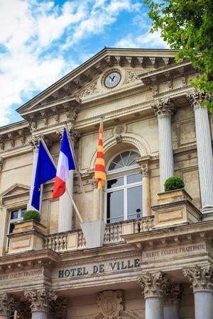 avignon: AVIGNON,FRANCE-July 03: The town-hall building in Avignon, France on 03 July 2015.