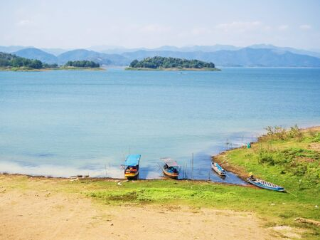 kaeng: Natural scenic view of Kaeng Krachan national park lake with blue sky in Petchaburi, Thailand Stock Photo