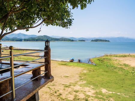 kaeng: Terrace view point of Kaeng Krachan national park lake in Petchaburi, Thailand