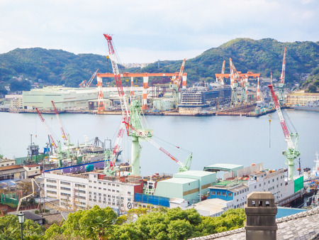 grabber: NAGASAKI, JAPAN - Dec 8, 2015 : View of Nagasaki port harbour from glover garden