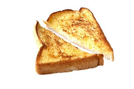 toasted: Toasted bread isolation on white background Stock Photo