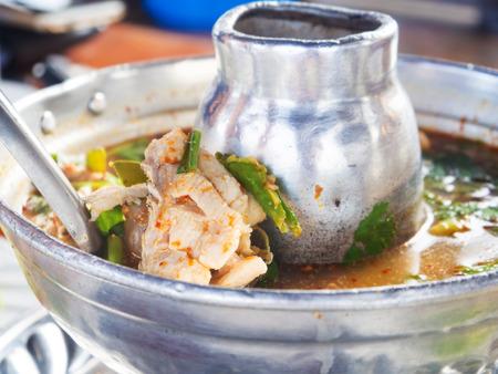 restuarant: Thai spicy Tomyum soup with fish in restuarant