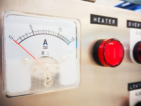 ammeter: Close up of Analog ammeter o electric heater