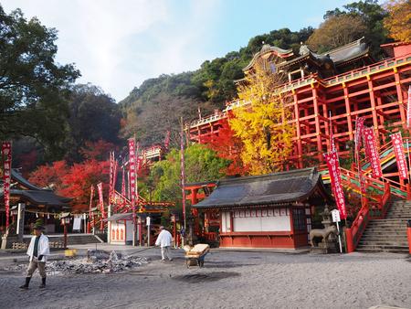 saga: Saga,Japan Dec 9, 2015: Yutoku Inari Shrine with color change of autumn leave in Kashima city, Saga prefecture ,Japan