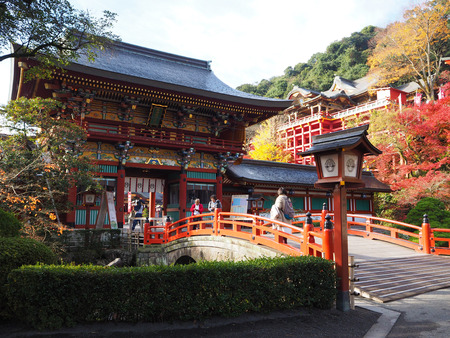 Saga,Japan Dec 9, 2015: Yutoku Inari Shrine with color change of autumn leave in Kashima city, Saga prefecture ,Japan