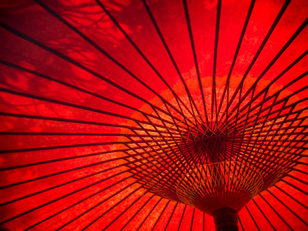 sunshade: Japanese red paper umbrella pattern for background