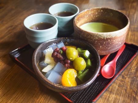 maccha: Japanese Green Tea and Dango dessert in Uji city,South of Kyoto Japan Stock Photo