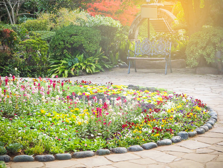 famous industries: Flower bed decoration in the glover garden,one of the tourist attraction in Nagasaki city, Japan