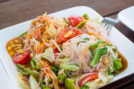 Famous Thai local food Papaya salad called Som-tum