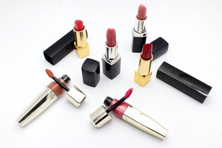 the lipstick: Lipstick isolated white background Stock Photo