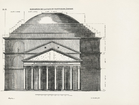 engraver: Elevation de la face du Pantheon a Rome. Elevation of the front of the Pantheon in Rome. 1682. Desgodets, Antoine Babuty - Artist. Chatillon, Louis de - Engraver. Stock Photo