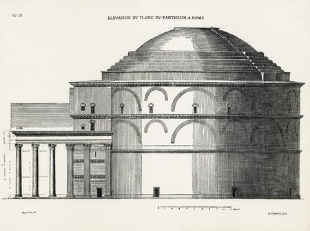 architrave: Elevation du flanc du Pantheon a Rome. Elevation of the side of the Pantheon, in Rome. 1682. Desgodets, Antoine Babuty - Artist. Chatillon, Louis de - Engraver.