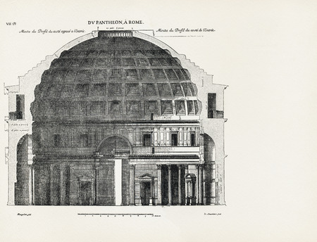 Du Pantheon, a Rome, moitie du profil du coste oppose a lentree. From the Pantheon, in Rome, half of the profile of the side opposite the entrance. 1682. Desgodets, Antoine Babuty - Artist. Chatillon, Louis de - Engraver