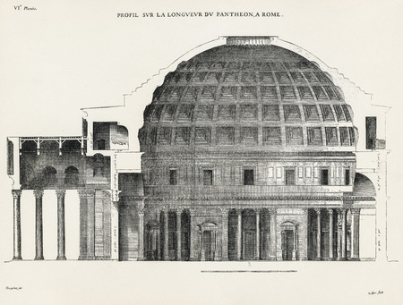 engraver: Profil sur la longueur du Pantheon, a Rome. Profile of the height of the Pantheon, in Rome. 1682. Desgodets, Antoine Babuty - Artist. Le Clerc, Sebastien - Engraver.
