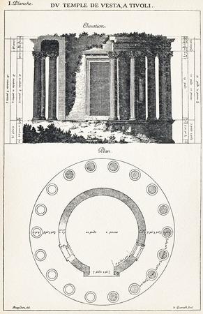 engraver: Du Temple de Vesta a Tivoli. elevazione. Piano. Dal tempio di Vesta a Tivoli. elevazione. Piano. 1682. Desgodets, Antoine Babuty - Artista. Guerard, Nicolas - Incisore.