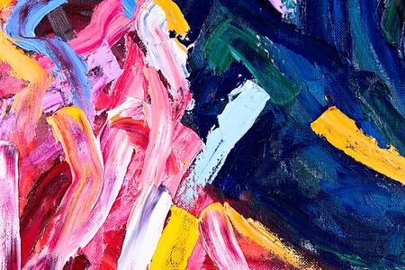 キャンバスに油彩。私の絵の断片。抽象的な背景。筆に焦点を当てる