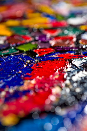 vibrant paintbrush: Abstract fragment of my oil painting. Oil on canvas. Bokeh. Shallow depth of field