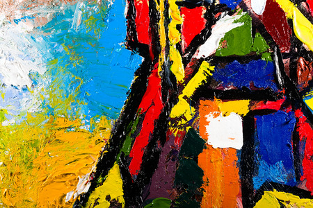 modern art: abstract modern painting fragment. palette knife oil on canvas. artistic background