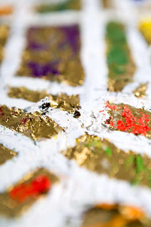 golden field: abstract modern defocused golden and white background. Oil and mixed media on canvas. Bokeh. Shallow depth of field Stock Photo