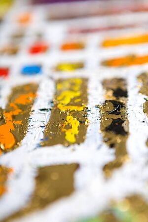 contrasts: abstract modern defocused golden and white background. Oil and mixed media on canvas. Bokeh. Shallow depth of field Stock Photo