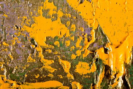 blemish: art abstract golden painting with colorful blots. Oil on canvas Grunge background with space for text or image Stock Photo