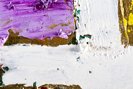 vibrant paintbrush: art abstract golden painting with colorful blots. Oil on canvas Grunge background with space for text or image Stock Photo