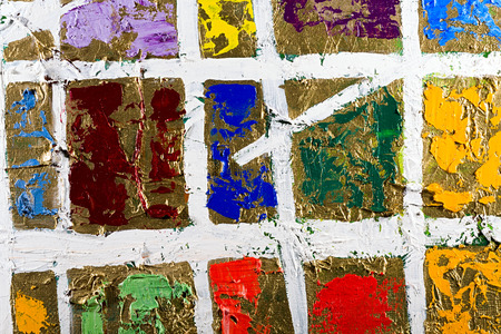 Fragment of an original abstract painting, golden background, colorful composition, oil and mixed media on canvas photo