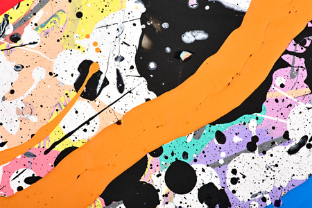 paper arts and crafts: Abstract acrylic modern painting fragment. Colorful rainbow Splashes and stripes texture. Contemporary art. Spray paint. Stock Photo