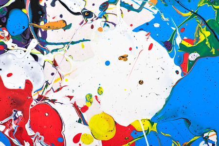 colour splash: Abstract acrylic modern painting fragment. Colorful rainbow splashes texture. Contemporary art. Spray paint.