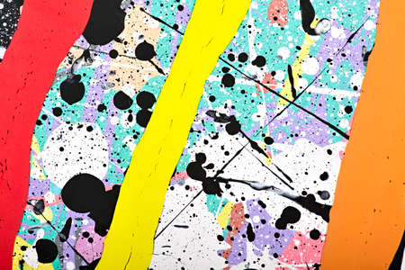 modernism: Abstract acrylic modern painting fragment. Colorful rainbow Splashes and stripes texture. Contemporary art. Spray paint. Stock Photo