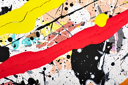 postmodern: Abstract acrylic modern painting fragment. Colorful rainbow Splashes and stripes texture. Contemporary art. Spray paint. Stock Photo