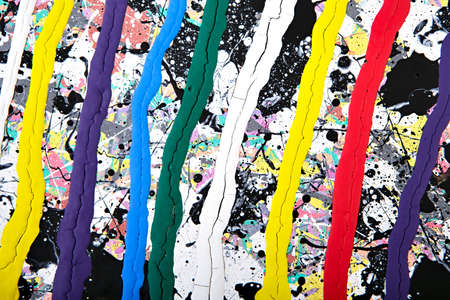 spray paint: Abstract acrylic modern painting fragment. Colorful rainbow Splashes and stripes texture. Contemporary art. Spray paint. Stock Photo