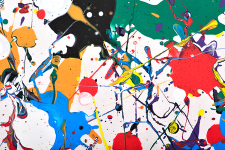 arty: Abstract acrylic modern painting fragment. Colorful rainbow splashes texture. Contemporary art. Spray paint.