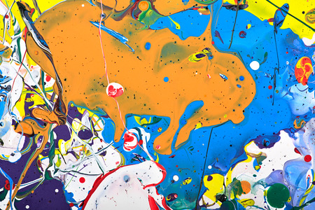 spot the difference: Abstract acrylic modern painting fragment. Colorful rainbow splashes texture. Contemporary art. Spray paint.