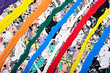 multilayer: Abstract acrylic modern painting fragment. Colorful rainbow Splashes and stripes texture. Contemporary art. Spray paint. Stock Photo