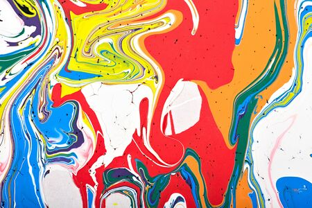 postmodern: Abstract acrylic modern painting fragment. Colorful rainbow stains texture. Contemporary art. Spray paint. Stock Photo