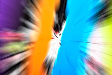 light zoom: Abstract multicolored background. Colorful radial blur, streaks of light, sunburst or starburst. Rays of versicolor light. Digitally generated image. Acrylic painting with a zoom effect.