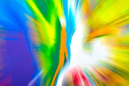 lucero: Fondo multicolor abstracto. Desenfoque radial colorido, rayas de la luz, resplandor solar o starburst. Rayos de luz versicolor. Imagen generada digitalmente. Pintura acrílica con un efecto de zoom.