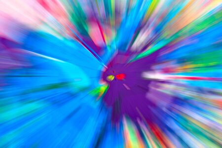 color illustration: Abstract multicolored background. Colorful radial blur, streaks of light, sunburst or starburst. Rays of versicolor light. Digitally generated image. Acrylic painting with a zoom effect.
